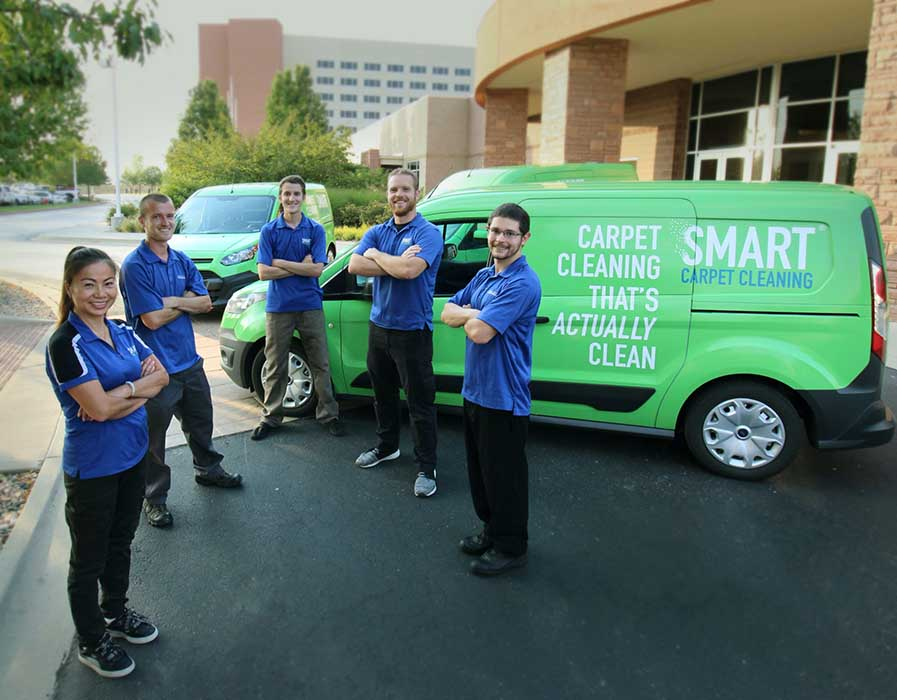 Ft. Collins, Colorado Smart Carpet Cleaning crew in front of green company van